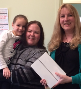 Tersa Androkitis of Old Orchard Beach recently took home a new iPad! Customer Service Manager Pam Blackman made the presentation earlier this month.